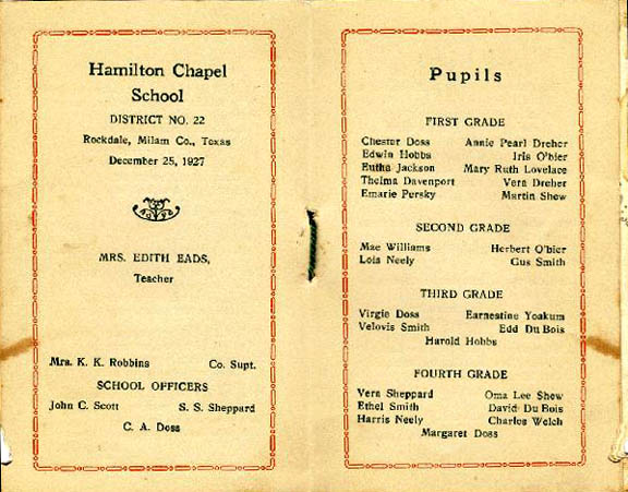 Photo of Hamilton Chapel Booklet, pages 5,6 (1927)