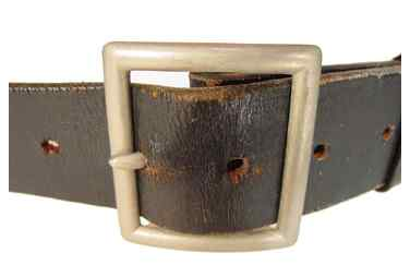 Photo of old style belt buckle and full grain leather belt