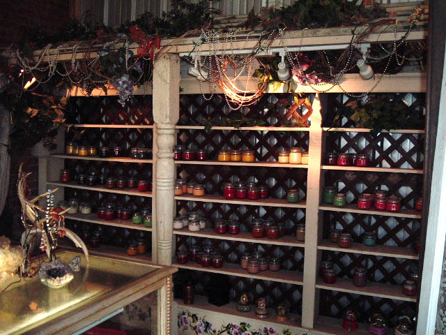 Photo of the scented candles available at Candy's in historic Calvert Texas