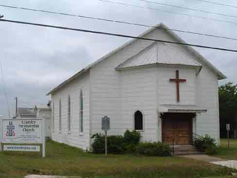 Photo of early day Leander Presbyterian Church in Leander Texas