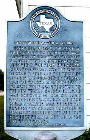Photo of the Texas Historical Marker at the site of the Leander Presbyterian Church