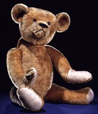 Photo of the first official Teddy Bear in the U.S.  is attributed to Brooklyn, NY, shopkeeper Morris Michtom and his wife Rose. This first bear named for President Theodore Roosevelt  was donated to the Smithsonian National Museum of Natural History where it is currently on display
