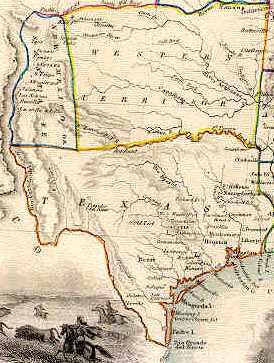 Photo of early-day map of the Republic of Texas